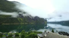 Clouds over fjord Stock Footage