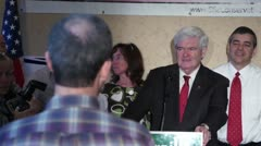 Newt Gingrich & Supporter Compare Castro To Obama - stock footage