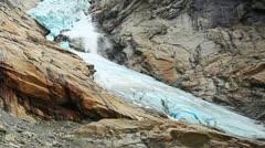 Briksdal glacier snowslide Stock Footage