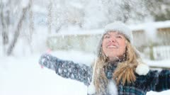 Happy Girl Throws Fresh Snow HD Stock Footage