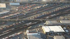 Freight Trains and Railyards - Aerial Stock Footage