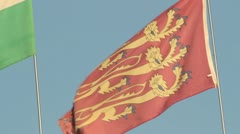 Three Lions Red Flag on Windy Blue Sky HD File Stock Footage