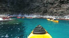 kayaking on the north shore of kauai, hawaii - stock footage