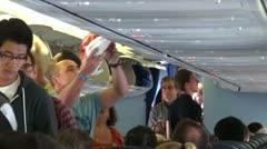 Boarding Passengers Inside Plane Boeing 737 - stock footage