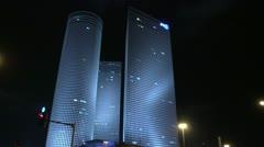 Tel Aviv protest Azrieli 1 Stock Footage