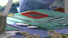 Tray with surgical instruments Stock Footage