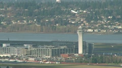 Portland Airport with Airplane Take Off Stock Footage