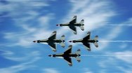 Stock Video Footage of Thunderbirds F-16 Jets in reverse diamond formation flyby.