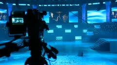 Video camera on the big stage - stock footage