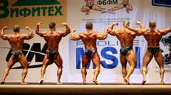 Champions of Open Cup of bodybuilding Stock Footage
