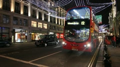 Double Deckers at Christmas Stock Footage