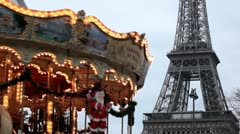 Eiffel Tower and Carousel (merry go round) in Paris, France, French Architecture Stock Footage