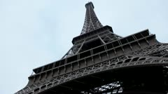 Great Eiffel Tower Paris, France, Europe, French Architecture, Cloudy Rainy Day Stock Footage
