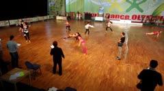Jury watch girls dance at VIII World Dance Olympiad Stock Footage
