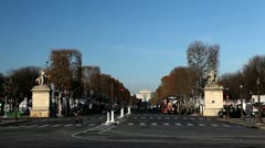 Place de la Concorde, Champs-Elysees, Arc de Triomphe in Paris, France Stock Footage