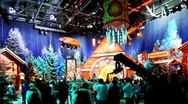 People in television studio is preparing to shoot Christmas TV shows Stock Footage