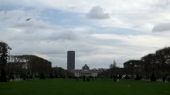 Ecole Militaire, Military School, Champ de Mars, Tour Montparnasse in Paris - stock footage