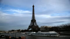 Eiffel Tower in Paris, France, Seine River, Boats Tour, French Architecture Stock Footage