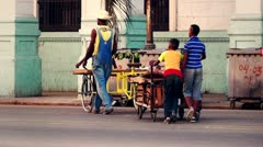 Cuba Old Havana Street Life Fruit Seller , Color Graded - stock footage