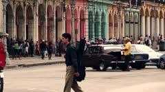 Cuba Old Havana Street Life 2 , Color Graded Stock Footage