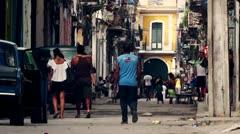 Cuba Old Havana Street Life , Color Graded Stock Footage