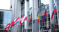 Stock Video Footage of Flags in front of European Parliament Building in Brussels, Belgium