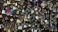 The locks of love in Paris, France, Europe Stock Footage