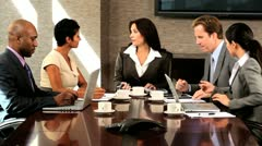 Five Multi Ethnic Business People in Team Meeting - stock footage