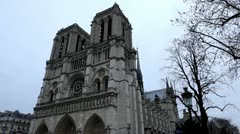 Notre Dame Cathedral in Paris, France, Our Lady Church, French Architecture Stock Footage