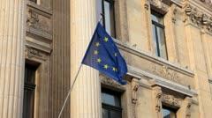 Stock Exchange Building (La Bourse de Bruxelles) in Brussels, Euro Flag Stock Footage