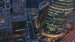 In business-center Naberezhnaya Tower visible light in windows Stock Footage