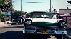Old Classic American Cars In Cuba , Color Graded Stock Footage