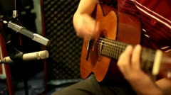 Classic guitar recording in studio Stock Footage