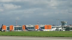 Planes AEROFLOT stands on aircraft parking on Sheremetyevo airport Stock Footage