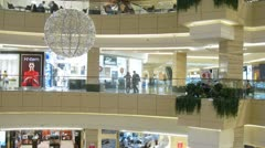 People are engaged in purchases in shopping centre Afimall City Stock Footage