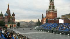 Spectators take the places to look at military musical festival SPASSKAYA Stock Footage