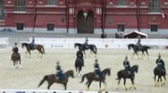 Performance of equestrians of Kremlin school of riding on festival Stock Footage