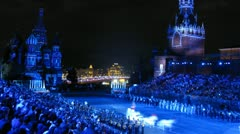 Festival SPASSKAYA BASHNYA come to an end with grandiose fireworks on Red Square Stock Footage