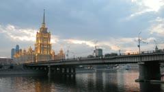 Hotel Ukraine stands behind Novoarbatsky bridge Stock Footage