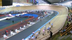 Competitions on Youthful superiority of world on cycling on a track Stock Footage