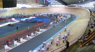 Stock Video Footage of Competitions on Youthful superiority of world on cycling on a track
