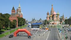 People wait for termination of bicycle race RED SQUAR and concert beginning Stock Footage