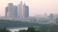 View from Vorobievy Mountains  on Business center Moscow City Stock Footage