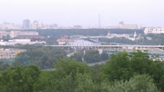 Turn from Luzhnetsky bridge to Sports complex Luzhniki Stock Footage