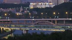 Luzhnetsky bridge through river is shone by lanterns Stock Footage