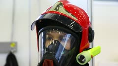 Protective suit with helmet, gas mask and manometer for fireman Stock Footage