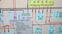 Big scheme of electric chains on monitor screen close up Stock Footage