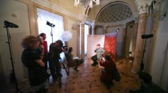 Popular actor Aleksandr Filippenko gives interview to journalists about film Stock Footage
