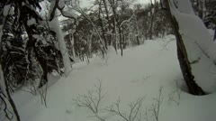 Snowboarding Backcountry Through Forest Deep Powder Snow Stock Footage