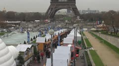 Christmas market and Eiffel tower holiday celebration paris europe france  Stock Footage